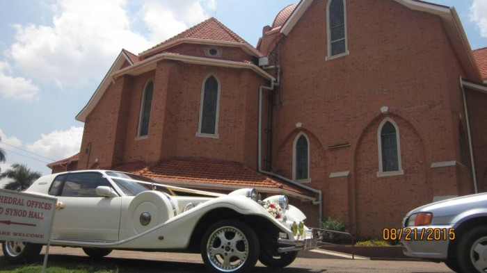 A vintage car from Wedding Car Hire Uganda at St. Paul's Cathedral Namirembe
